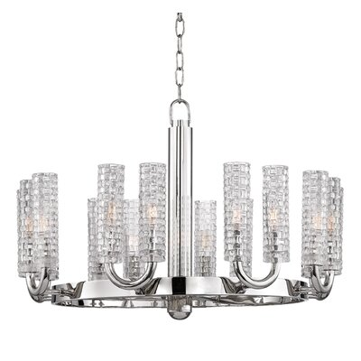 Ellayne 16-Light Shaded Chandelier Finish: Polished Nickel