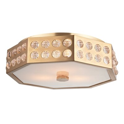 Emeraude 3-Light Semi Flush Finish: Aged Brass