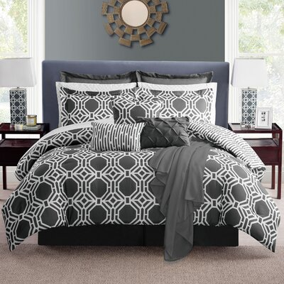 Estinnes Comforter Set Color: Gray, Size: Full/Queen
