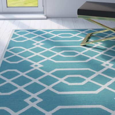 Davinia Hand-Tufted Teal/Off White Area Rug Size: Runner 26 x 8