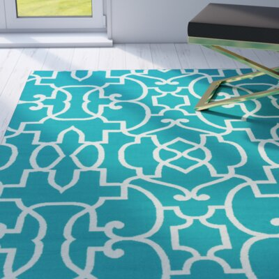 Eamonn Aqua Blue/ White Indoor/Outdoor Area Rug Rug Size: 710 x 1010