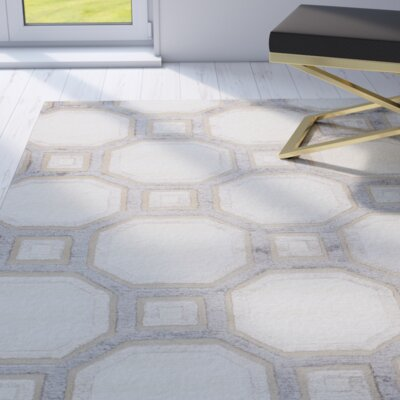 Giles Hand-Tufted Ivory Area Rug Rug Size: Rectangle 86 x 116