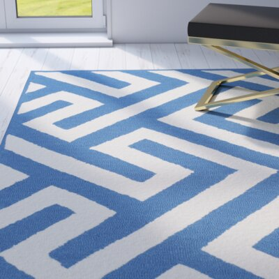 Rawlins Hand-hooked Ivory/Blue Indoor/Outdoor Area Rug Rug Size: Rectangle 36 x 56
