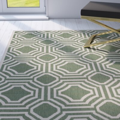 Olsene Dark Green/Beige Indoor/Outdoor Area Rug Rug Size: Rectangle 8 x 11