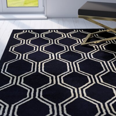 Brewster Hand-Woven Black Area Rug Rug Size: 2 x 4