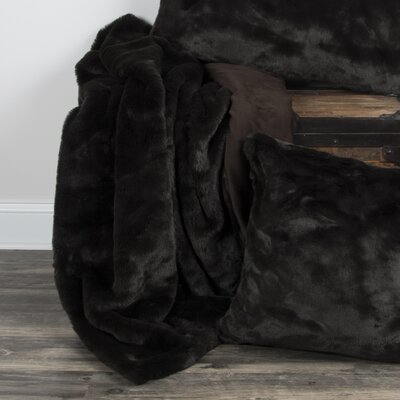 Castle Cary Faux Fur Throw Color: Black