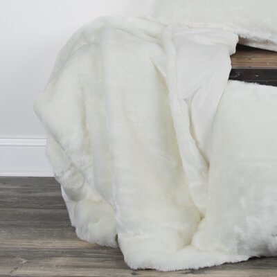 Castle Cary Faux Fur Throw Color: White
