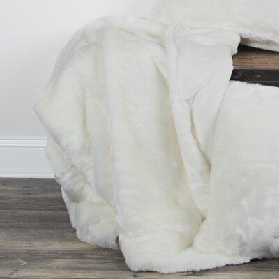 Castle Cary Faux Fur Throw Color: White