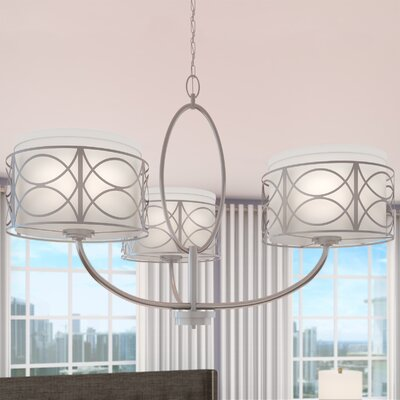 Helina 3-Light Drum Chandelier Finish / Shade Color: Polished Nickel / Slate Gray Fabric