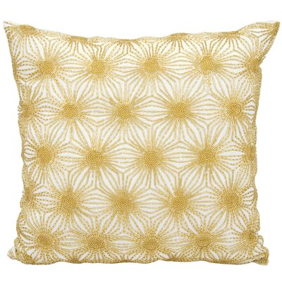 Gehlen Beaded Sun Stars Throw Pillow Color: White Gold