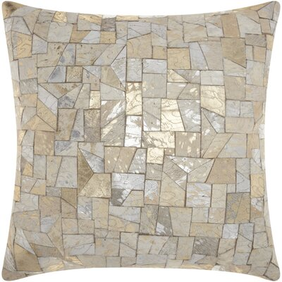 Gilby Mosaic Cut Leather Throw Pillow
