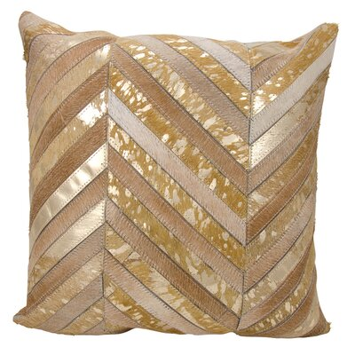 Glaucous Thin Met Chevron Throw Pillow Color: Beige/Gold
