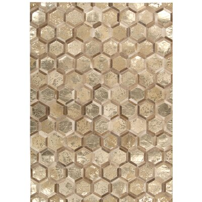 Abra Hand-Woven Gold Area Rug Rug Size: 53 x 75