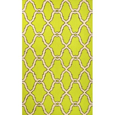 Beudan Hand-Hooked Wool Green Area Rug Rug Size: Rectangle 76 x 96