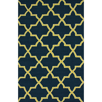 Bodmin Hand-Hooked Wool Yellow/Black Area Rug Rug Size: Rectangle 76 x 96