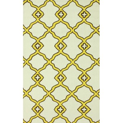 Bodmin Hand Hooked Wool Yellow/Beige Area Rug Rug Size: Rectangle 86 x 116