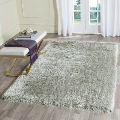 Darion Hand-Tufted Silver Area Rug Rug Size: Rectangle 4 x 6