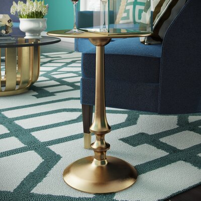 Lindel End Table Color: Antique Brass