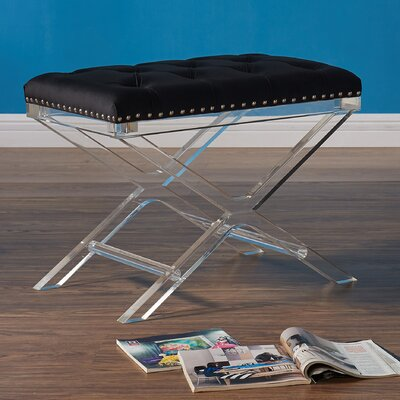 Bemott Modern and Contemporary Ottoman Upholstery: Black