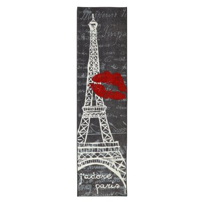 Chrystal Pairs Love Eiffel Tower Urban Grey Area Rug