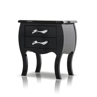 Beckett 2 Drawer Nightstand Finish: Black