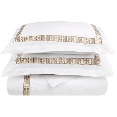 Bourg Reversible Duvet Cover Set Color: Taupe, Size: King / California King
