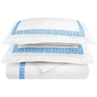 Bourg Reversible Duvet Cover Set Color: Light Blue, Size: King / California King