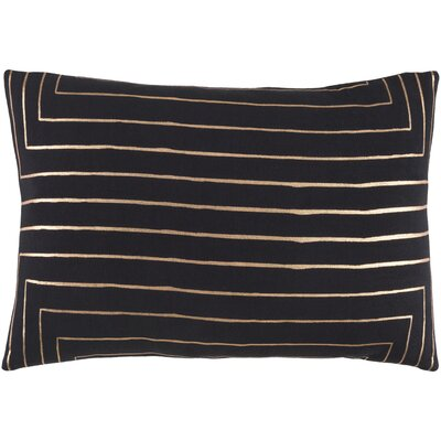 Steele Rectangular Cotton Pillow Cover Color: Black