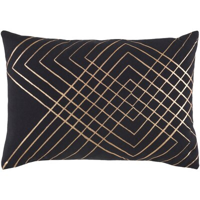 Steele Geometric Cotton Lumbar Pillow Color: Black