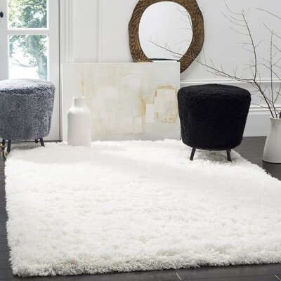 Hermina White Area Rug Rug Size: Rectangle 9 x 12