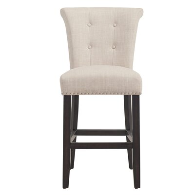 Ripon 39.75 inch Bar Stool Finish: Vintage Oak, Upholstery: Light Gray