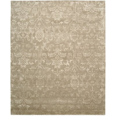 Preminger Hand-Knotted Light Gold Area Rug Rug Size: 56 x 75
