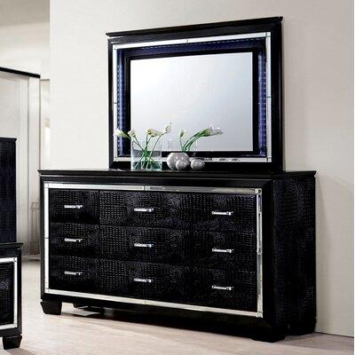 Errol 9 Drawer Dresser with Mirror Finish: Black