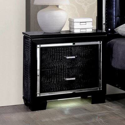 Crispin 2 Drawer Nightstand Finish: Black