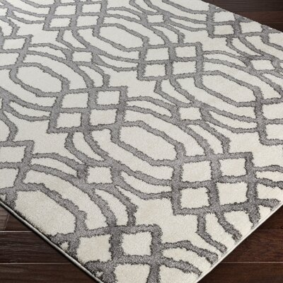 Brookside Gray/Beige Area Rug Rug Size: 53 x 76