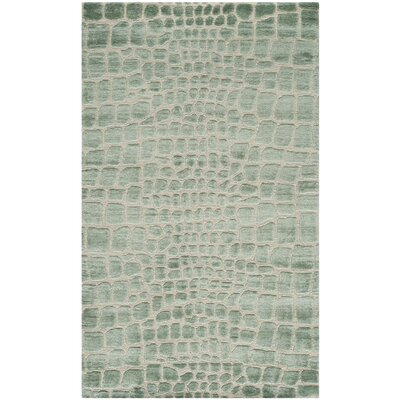 Amazonia Hand-Tufted Teal/Gray Area Rug Rug Size: 56 x 86