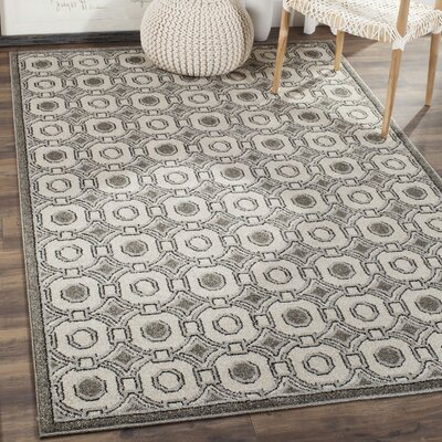 Maritza Ivory/Gray Indoor/Outdoor Wool Area Rug Rug Size: 5 x 8