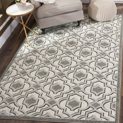 Maritza Ivory/Gray Indoor/Outdoor Area Rug Rug Size: 3 x 5