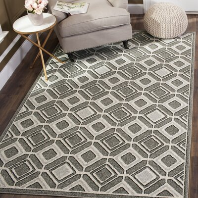 Maritza Gray/Light Gray Indoor/Outdoor Wool Area Rug Rug Size: 5 x 8