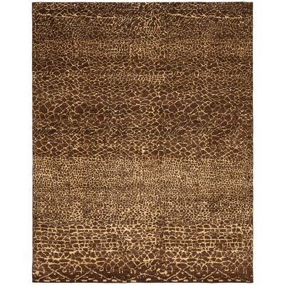 Zaffre Hand-Knotted Chocolate/Beige Area Rug Rug Size: Rectangle 8 x 10