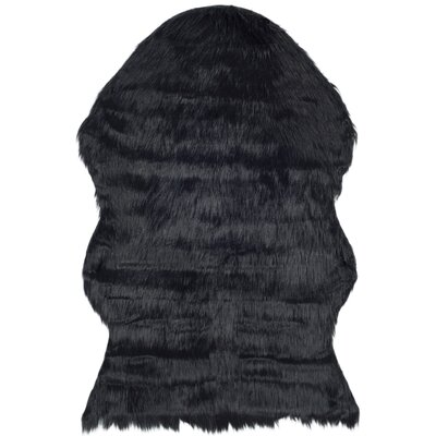 Zelem Faux Sheepskin Black Area Rug Rug Size: Runner 26 x 8