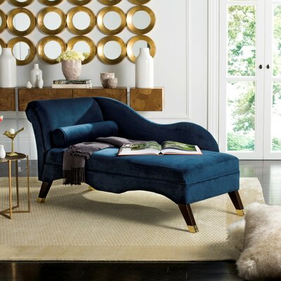 Melania Chaise Lounge Color: Navy