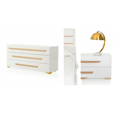 Lacey 3 Drawer Dresser with 2 Nightstands