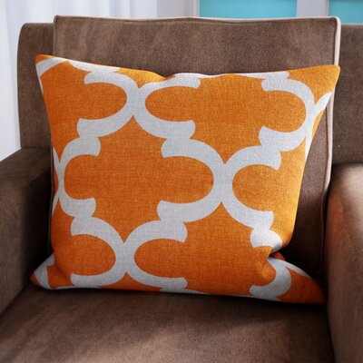Clyburn 100% Cotton Throw Pillow Color: Orange, Size: 20 x 20