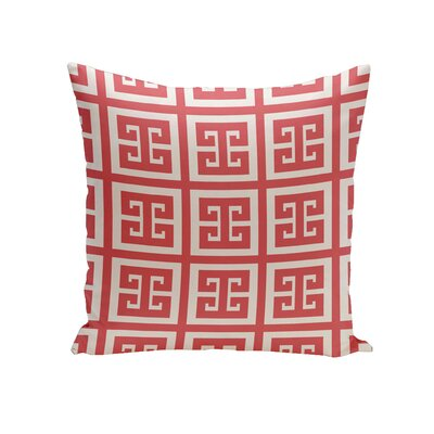 Croydon Geometric Decorative Outdoor Pillow Color: Coral, Size: 18 H x 18 W x 1 D