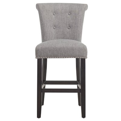Alberty 39.75 Bar Stool Finish: Coffee, Upholstery: Light Gray