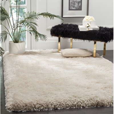 Sasha Hand-Tufted Beige Area Rug COLOR: Bone, Rug Size: Rectangle 3 x 5