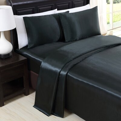 Himrod 200 Thread Count Sheet Set Color: Black, Size: Twin