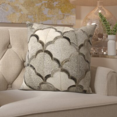 Cecil Natural Leather Hide Throw Pillow Color: Gray