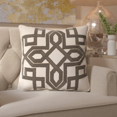 Hudgens Linen Throw Pillow Size: 18 H x 18 W x 4 D, Color: Forest / Ivory, Filler: Polyester